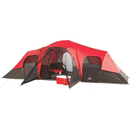 OZARK Trail Family Cabin Tent (Red/Black, 10 Person)