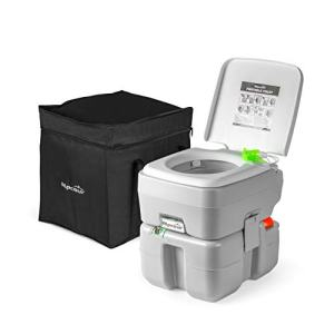 Alpcour Portable Toilet - Compact Indoor & Outdoor Commode w/Travel Bag for Camping, RV, Boat & More - Piston Pump Flush, 5.3 Gallon Waste Tank, Built-In Pour Spout & Washing Sprayer for Easy Cleaning