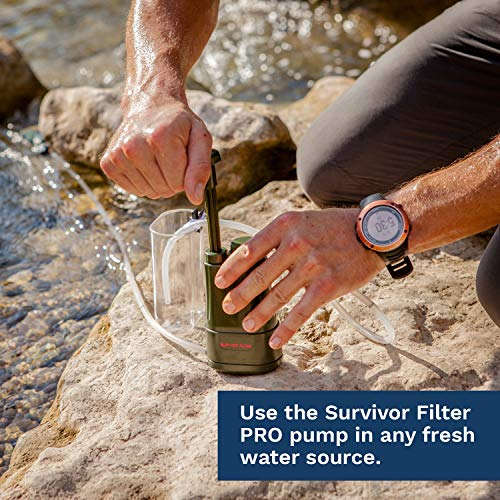 Survivor Filter PRO - Virus and Heavy Metal Tested 0.01 Micron Water Filter for Camping BEST INDEPENDENTLY TESTED FILTRATION LEVEL ON THE MARKET: Tested at Multiple USA labs to show Log 5 Removal 99.999% of Protozoa (Cryptosporidium, Giardia and Parasites) Log 5 Removal 99.999% of tested VIRUS (Phi X-174), STAPH and BACTERIA. 99.5% Mercury and 93% Lead Removal which Matches or Exceeds Most Home Systems. Just Ask us for Copies of our Tests!  SUPER FAST FLOW RATE OF 500 ml. (17 OZ) PER MINUTE: can be used directly from fresh water source, pumped into attached cup, OR pumped into any portable hydration pack. Perfect for filtering large jugs of water for the whole family!