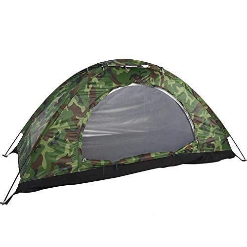 VGEBY1 Single Camouflage Camping Tent, Outdoor Polyester One Person Waterproof Tent with Carry Bag Tents for Camping, Backpacking, Picnic,Hiking,Fishing,Outdoor Use.