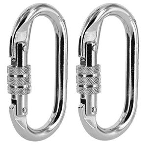 MEABEN Set of 2 Climbing Carabiner - Rated Carabiner Keychain Hook O Ring Clips | Heavy Duty Locking Carabiner for Climbing, Rigging, Ropes, Hammocks, Camping