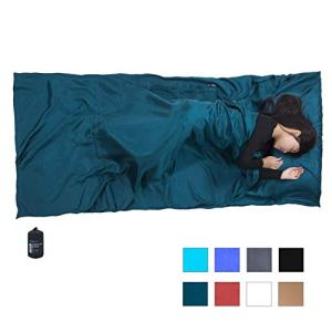 "Browint Silk Sleeping Bag Liner, Silk Sleep Sheet, Sack, Extra Wide 87""x43"", Lightweight Travel and Camping Sheet for Hotel, More Colors for Option, Reinforced Gussets, Pillow Pocket"