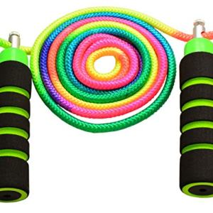 Anna's Rainbow Ropes Kids Jump Rope Durable Child Friendly Skipping Rope - Exercise Toy for Playground with Lightweight Foam Handles and Vibrant Colors