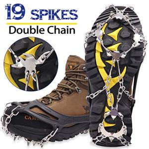 Marwey Crampons Ice Snow Grips Traction Cleats Shoes Grips with 19 Spikes for Womens Mens Kids Boots Shoes Safe Protect Lightweight Crampons, Hiking, Walking, Climbing, Mountaineering on Ice and Snow