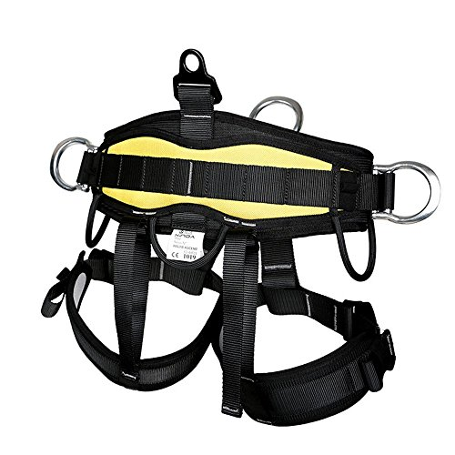 HaoFst Pro Tree Carving Fall Protection Rock Climbing Equip Gear Rappelling Harness  Adjustable, one siize fit most,Color: black.
