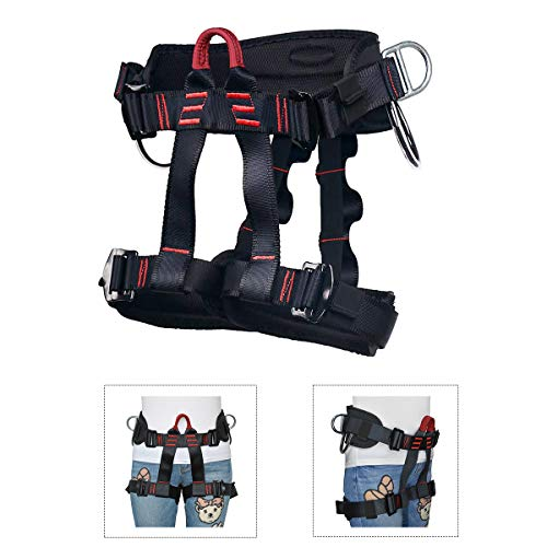 HeeJo Thicken Climbing Harness, Protect Waist Safety Harness, Wider Half Body Harness for Rock Climbing Tree Climbing Fire Rescue Expanding Training Rappelling Mountaineering