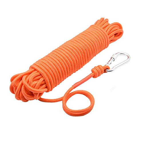 """UTOMAG Magnet Fishing Nylon Rope with Carabiner, 65 Feet All Purpose High Strength Cord Safety Braid Rope - Good for Magnet Fishing - Diameter 6mm / 8mm - Approximately 1/4"""" / 1/3"""""""