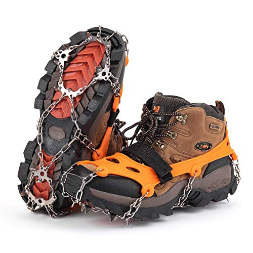 Surprisedlife Ice Spikes Crampons Traction,Ice Snow Gripper for Boots Shoes,Anti Slip 19 Micro Spikes,Safe Protect for Men Women Jogging Hiking Climbing on Snow and Ice