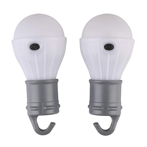 Tahoe Trails 2 Pack 60 Lumen Compact LED Lantern Tent Camp Light Bulb for Camping Hiking Fishing Emergency Lights, Battery Powered Portable Lamp