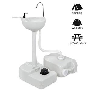 Hike Crew Portable Outdoor Foot Pump Camping Sink – Collapsible Hand Wash Basin w/ 5 Gallon (19L) Water Tank, Wheels, Soap Dispenser, Gooseneck Faucet and Towel Holder – for RV, Travel, Worksite.