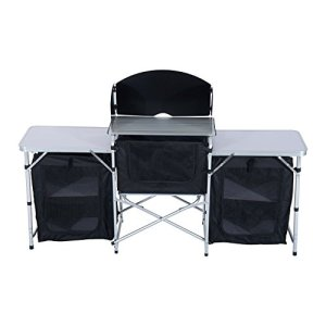 Outsunny 6' Aluminum Portable Fold-Up Camping Kitchen with Windscreen and 5 Enclosed Cupboards
