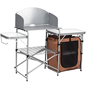 Giantex Folding Grill Table with Storage Lower Shelf and Windscreen Aluminum Folding Cook Station Quick Set-up and Lightweight for BBQ, Party, Camping, Picnics, Backyards and Tailgating, BBQ Table