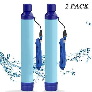 Amorom Water Filter Straw, Portable Outdoor Survival Personal Water Filtration System for Camping Hiking Climbing Backpacking, 2 Pack
