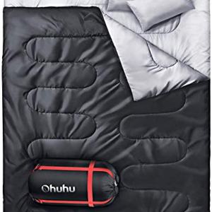 Ohuhu Double Sleeping Bag with 2 Pillows, Waterproof Lightweight 2 Person Adults Sleeping Bag for Camping, Backpacking, Hiking, Bonus Carrying Bag, Black