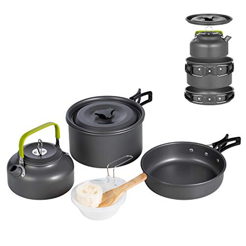 Terra Hiker Camping Cookware, Nonstick, Lightweight Pots, Pans with Mesh Set Bag for Backpacking, Hiking, Picnic