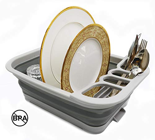 SAMMART Collapsible Dish Drainer with Drainer Board - Foldable Drying Rack Set - Portable Dinnerware Organizer - Space Saving Kitchen Storage Tray (1, Grey)