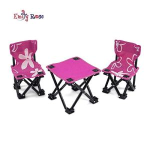 "Emily Rose 18 Inch Doll Accessories Furniture for American Girl Dolls | Flowered Doll Camping Chairs and Table Set, Includes Carry Case | Fits 18"" American Girl Dolls"