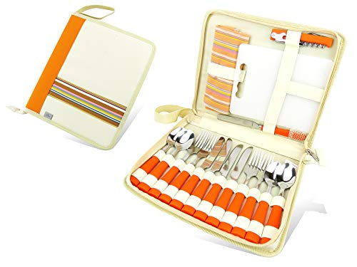 Linico Camping Utensils, 19 Pieces Travel Utensil Set for 4, Reusable Camping Silverware Set, Camping Kitchen Accessories, Camping Cutlery Set | Tableware| Dinnerware|Picnicware| Comes in a Case