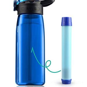 Membrane Solutions Tritan Water Filter Bottle - Portable Water Bottle with 4-Stages Filtration System/Straw for Camping, Survival, Backpacking Travel Climbing, Sports and Bike, BPA-Free, 22 Ounce, Blue.