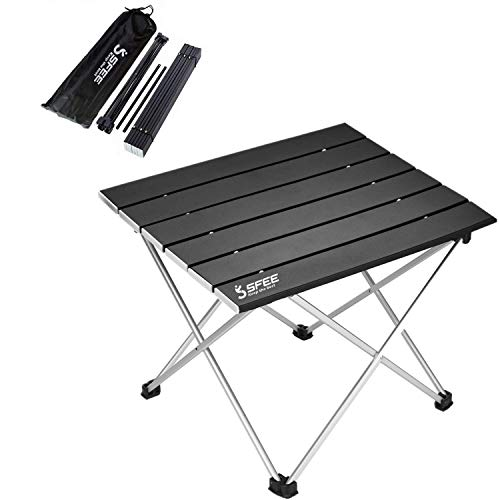 Sfee Folding Camping Table - Portable Ultralight Aluminum Camp Table Lightweight Compact Roll Up Picnic Table for Picnic Outdoor Hiking BBQ Camping Kitchen Fishing Beach with Carry Bag (Black)