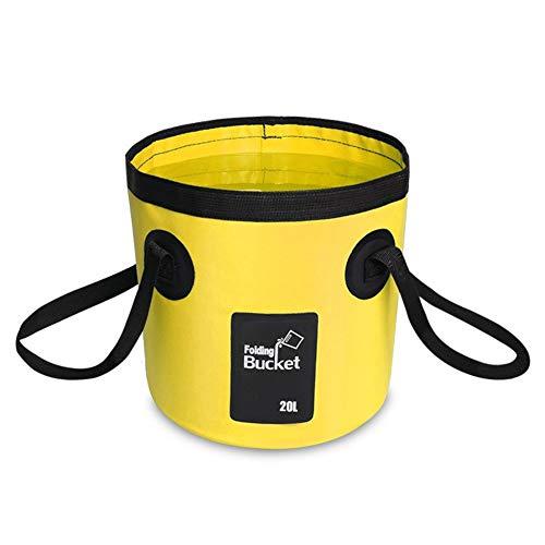AINAAN Multifunctional Collapsible Portable Outdoor Basin Folding Bucket Water Storage Bag for Camping Hiking Travel Fishing Caravan Washing, 20L, Yellow