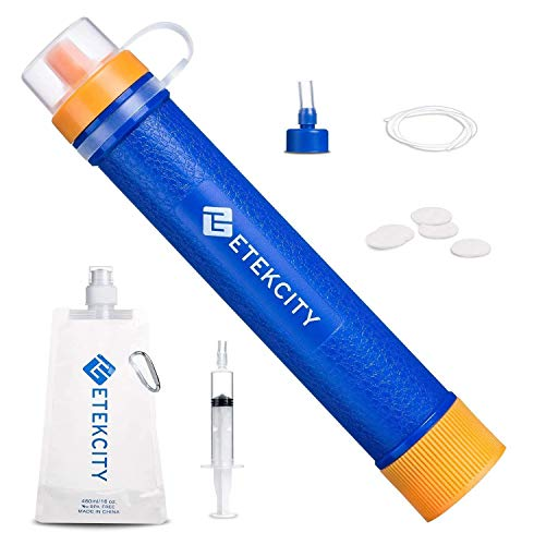 Etekcity Water Filter Straw Camping Water Purification Portable Water Filter Survival Kit for Camping, Hiking, Emergency, Hurricane for Fathers Day