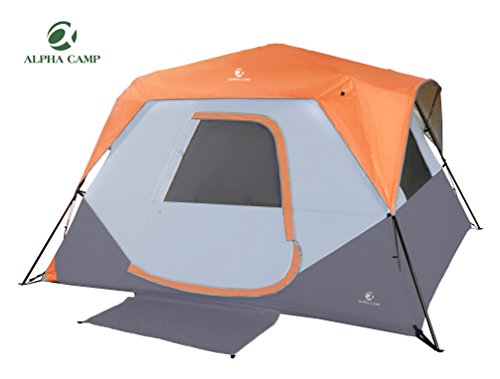 ALPHA CAMP 6 Person Instant Tent for Camping Easy Setup Cabin Tent with Foot Mud - 10' x 9' Orange