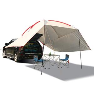 REDCAMP Waterproof Car Awning Sun Shelter, Portable Auto Canopy Camper Trailer Sun Shade for Camping, Outdoor, SUV, Beach Gray…