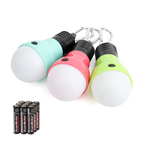 EverBrite 3-Pack Camping Lights - 3 lighting modes, Portable LED Bulbs Ideal for Kids' Adventure Activities, Backpacking, Camping, Picnic, Emergency and More, 3 x AAA Batteries Included