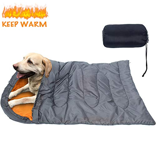 KUDES Dog Sleeping Bag Waterproof Warm Packable Dog Bed with Storage Bag for Indoor Outdoor Travel Camping Hiking Backpacking (27''x43'')