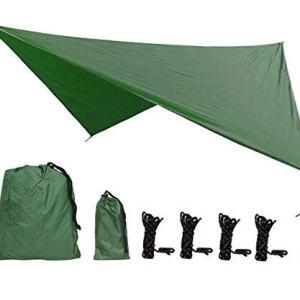 Camping Tent Tarp Shelter, Egoera 3.6m x 2.9m Large Hammock, Lightweight Tarpaulin Anti UV, Hammock Rain Fly Waterproof with 2 Aluminium Stakes, 4 Ropes and Carrying Bag for Outdoor Picnic (Camel) …