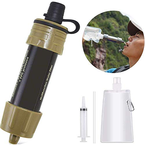 Lixada Water Filter Straw with 5000L Filtration 0.01 Micron Purifier Survival Gear for Hiking, Camping, Travel, Emergency