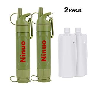 Ninuo Mini Water Filter - Portable Water Purifier, Personal Filtration System for Camping, Backpacking, Hiking, Emergency & Survival
