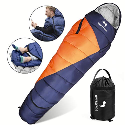 WhiteFang Sleeping Bag with Compression Sack,Wearable Portable Lightweight and Waterproof for Adults & Kids,3-4 Season Mummy Sleeping Bags Great for Hiking, Camping and Outdoor (Blue) (Orange) (Blue)