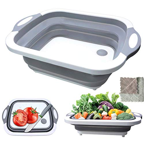 Collapsible Cutting Board, HI NINGER Multifunction Chopping Board with Colander, Space Saving 3 in 1 Multifunction Storage Basket, Chopping&Slicing Board for Camping, Picnic, BBQ, Kitchen
