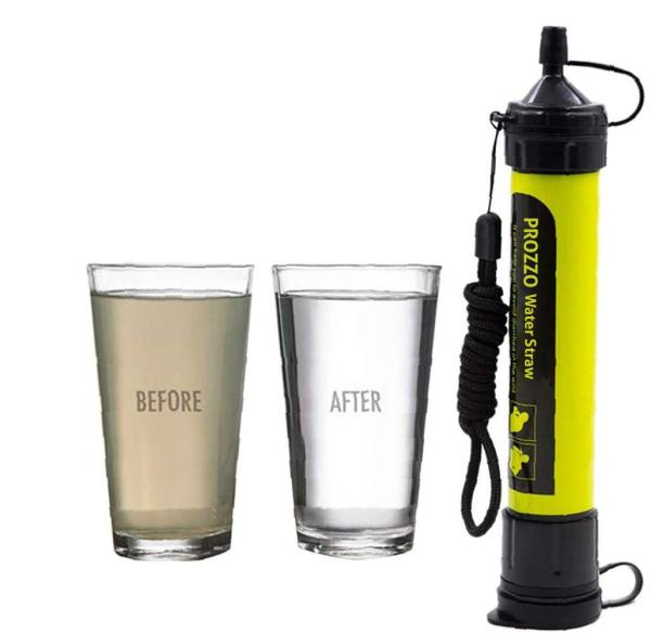 Personal Water Filter for Hiking, Camping, Travel, and Emergency Preparedness (Yellow)