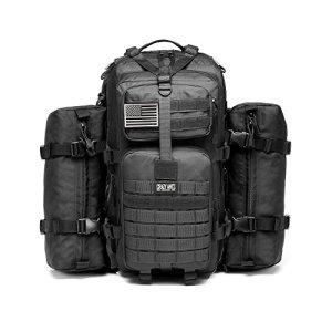 Military Tactical Backpack Waterproof Outdoor Gear for Camping Hiking,Black + 2 Detachable packs (Black + 2 packs)