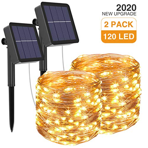 Kolpop Solar String Lights 2Pack 39Ft 120LED Solar Powered Fairy Lights Outdoor 8 Modes Copper Wire Decoration Christmas Lights Waterproof for Garden Yard Camping Patio Trees Party Deco(Warm White).
