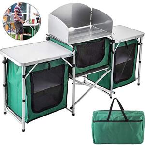 VBENLEM Camping Outdoor Kitchen 3 Zippered Bags Camping Cook Table Steel Windscreen Camping Kitchen Table 2 Side Tables Camp Cook Table Portable Outdoor Camping Table for Outdoor Activities Green