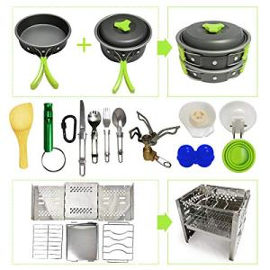 19pcs Camping Cookware Kit for 2-4 Person with Camp Stove and Stove Stand - Non-Stick Portable Pots Pans Foldable Stainless Steel Knife/Fork/Spoon Hiking Gear (Cookware Set 1-Green)