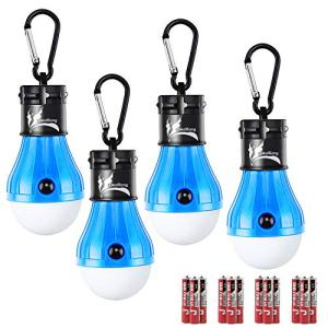 DealBang LED Tent Light for Caming, Battery Included 150 Lumens LED Hanging Light Bulbs for Outdoor Fishing, Hiking, Camping, Backpacking, Emergency, Hurricane, Storm,Outage (Blue,4-Pcs)