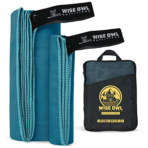 Wise Owl Outfitters Camping Towel Ultra Soft Compact Quick Dry Microfiber - Great for Fitness, Hiking, Yoga, Travel, Sports, Backpacking and The Gym - Free Bonus Hand Towel 24x48 MB.
