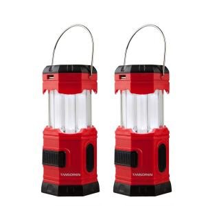 "TANSOREN 2 PACK Portable LED Camping Lantern Solar USB Rechargeable or 3 AA Power Supply, Built-in Power Bank Compati Android Charge, Waterproof Collapsible Emergency LED Light with""S"" Hook"