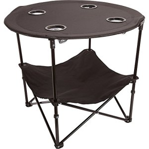 Preferred Nation Folding Table, Polyester with Metal Frame, 4 Mesh Cup Holders, Compact, Convenient Carry Case Included - Black