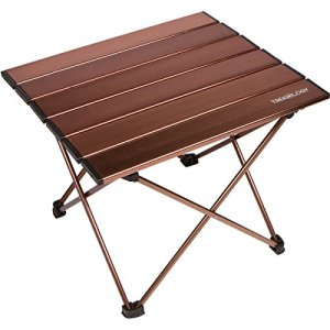 Trekology Portable Camping Side Tables Aluminum Table Top: Hard-Topped Folding Table in a Bag Picnic, Camp, Beach, Boat, Useful Dining and Cooking Burner, Easy to Clean (Brown, Large)