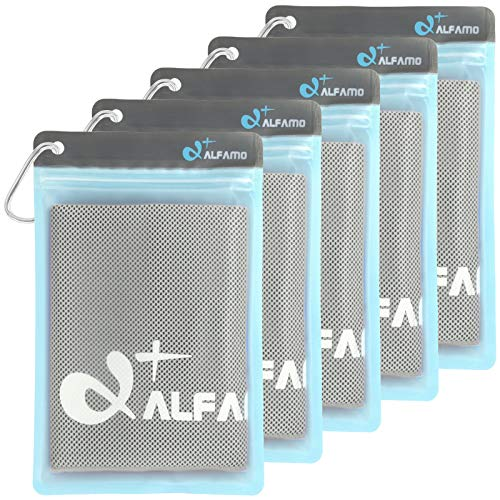 Alfamo Cool Towels for Neck 5 Pack (Gray, S), Cold Towel, Microfiber Towel, Cooling Bandanas Soft Breathable Chilly Towel for Yoga Sport Gym Fitness Running Workout Camping and More Activities