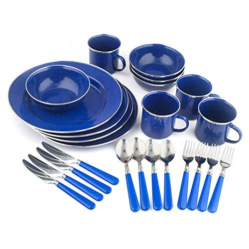 Stansport Enamel Camping Tableware Set, 24-Piece, Blue