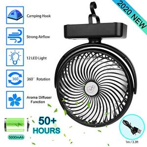 Portable Battery Camping Fan with LED Lantern - Rechargeable 5000mAh Battery Operated USB Desk Fan Kit with Hanging Hook for Tent Car RV Hurricane Emergency Outages Office