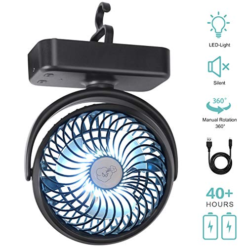REENUO Camping Fan with LED Lights, 5000mAh Rechargeable Battery Operated Tent Fan, Portable USB Desk Fan with Hanging Hook for Indoor and Outdoor, Hurricane Emergency Survival Kit.