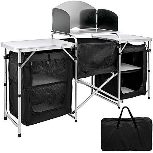 VBENLEM Camping Outdoor Kitchen 2-Tier Camping Kitchen Table with 3 Zippered Bag Camping Table 2 Side Tables Camp Cook Table Portable Outdoor Camping Table for Outdoor Activities Black